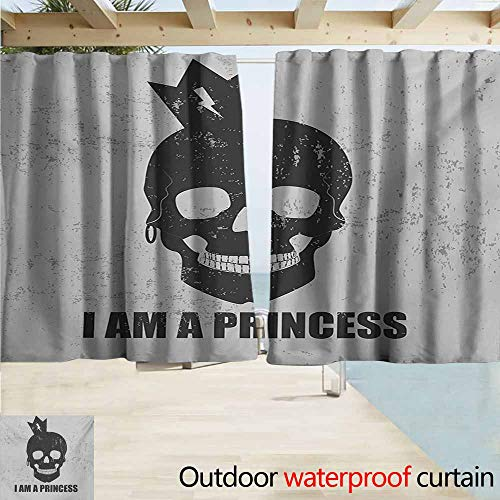 Wlkecgi I am a Princess Outdoor Curtain Panel for Patio Skull with a Crown Skeleton Halloween Theme Grunge Look for Patio/Front Porch W72 xL63 Charcoal Grey and Pale Grey ()