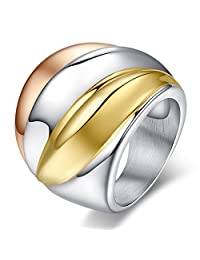 UM Jewelry Womens Stainless Steel Wide Ring Gold Silver Rose Gold Three-Tone Band 24mm