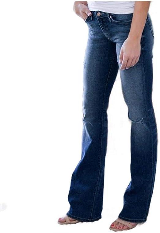 VITryst Women's Elastic Bootcut Ripped Hole Casual Slim Denim Jeans