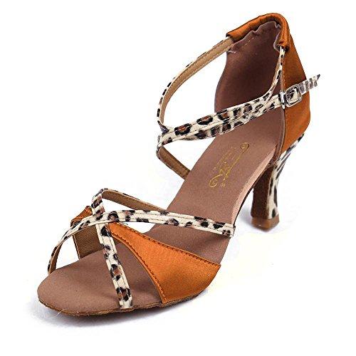 Zapatos Mujeres's Salsa Las Ballroom América Brown Tacón Yff Sandalias 5cm De Tango Baile Satén RHwqZY
