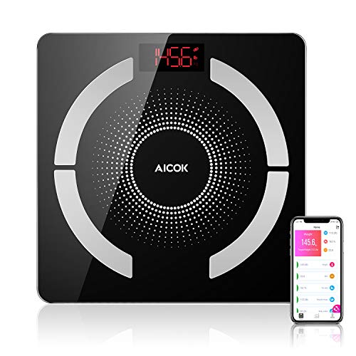 Aicok Weight Scale, Bluetooth Digital Body Fat Scale with iOS and Android Smart App, Multifunction Body Composition Measurement, Maximum 400lbs/180kg, Hidden LED Display, 2.4cm Ultra-Thin Design ()