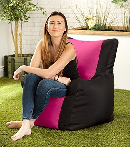 Black / Pink Water Resistant 'Layla' Outdoor Bean Bag Arm Chair Hippo