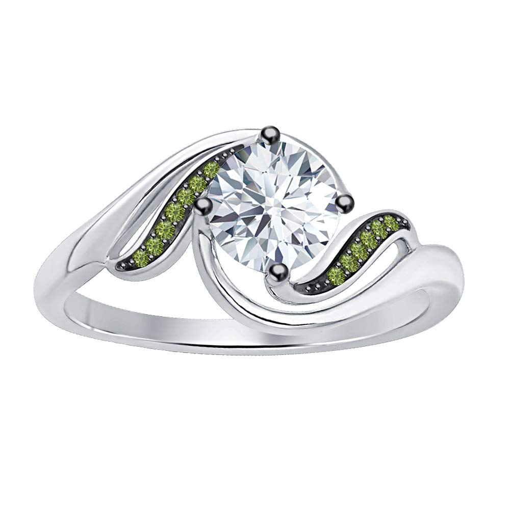 SVC-JEWELS Beautiful Twisted Round Cut White Diamond /& Green Tourmaline Engagement Ring for Women in 14K Black Gold Plated