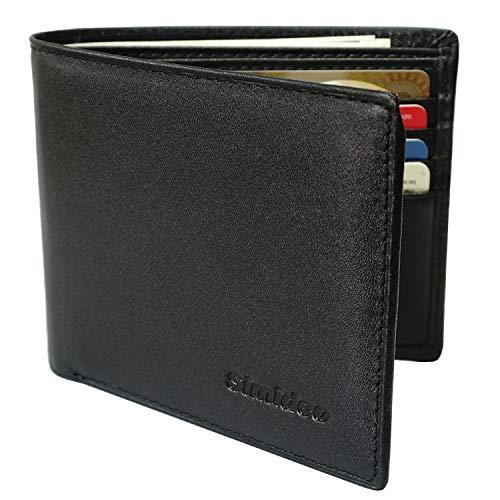 Simideo Men's Wallet TOP-GRAIN Genuine Leather RFID Wallet, Bifold Trifold Slim Wallet with 2 ID Windows ()