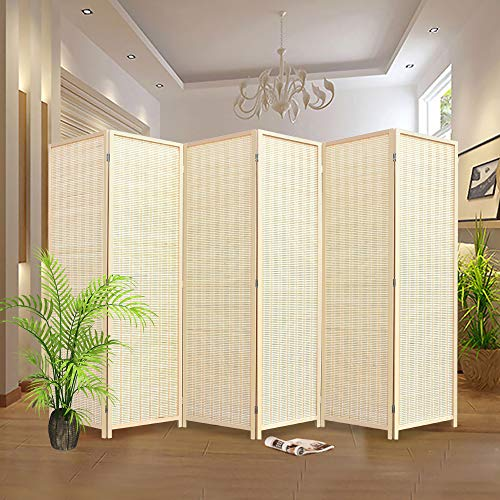 RHF 6 ft. Tall-Extra Wide, bamboo room divider, 6 Panel Room Divider/Screen, Room Dividers and Folding Privacy Screens 6 Panel,Wall divider,Room partitions/Separator/Dividers-Bamboo 6