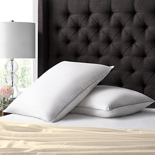 Beckham Hotel Collection Luxury White Down Feather Pillow (2-Pack) - Premium 100% Cotton Shell - Queen