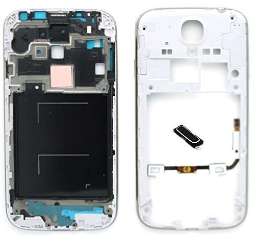 4in1 New LCD Front Middle Frame+Back Plate Rear Camera Panel+Home Button Keypd+ Proximity Light Sensor Signal Home Menu Return Button Flex Cable with Home Button Replacement for Samsung Galaxy S4 IV GT-i9500 i9505 i337/AT&T M919/T-Mobile SCH-i545/Verizon SPH-L720/Sprint SCH-R970/US Cellular (i9505 Blue Button) (Tmobile Galaxy S4 Lcd Replacement)