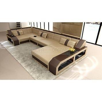 Juego de sofás Arezzo forma de U Beis Arena - marrón oscuro ...