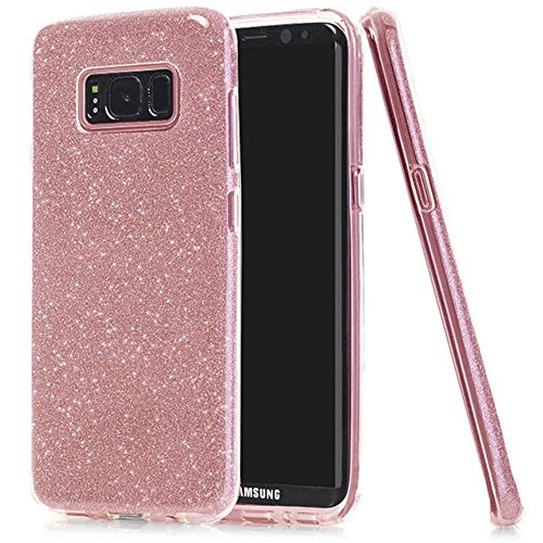 Samsung Galaxy S8 Case,HIQUE Thin 3 Layer Hybrid TPU Bling Glitter Shimmering Case Pink (Bling Shimmering)
