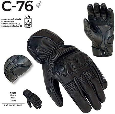 UNIK- C-76 Gants d/ét/é pour moto en cuir avec renforts M Noir noirs Homologu/és