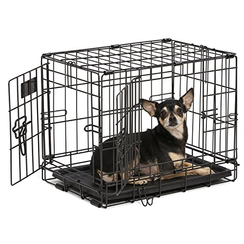Dog Crate | MidWest iCrate XXS Double Door Folding Metal Dog Crate w/ Divider Panel, Floor Protecting Feet & Leak-Proof Dog Tray | 18L x 12W x 14H Inches, Toy Dog Breed, Black ()
