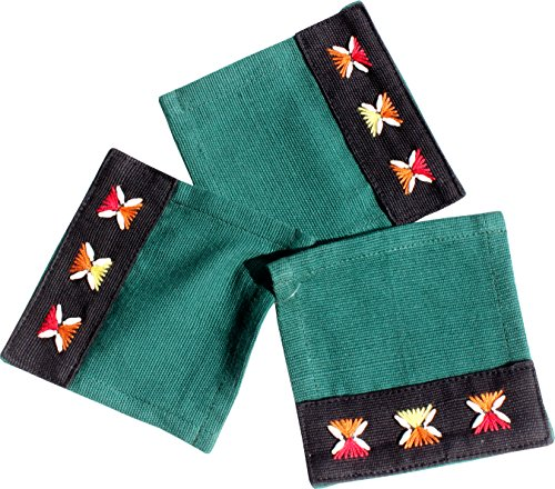 RaanPahMuang Weave Thai Burmese Refugee Fair Trade Hand Made Placemat Set, Green by RaanPahMuang