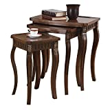 3-piece Curved Leg Nesting Tables Warm Brown