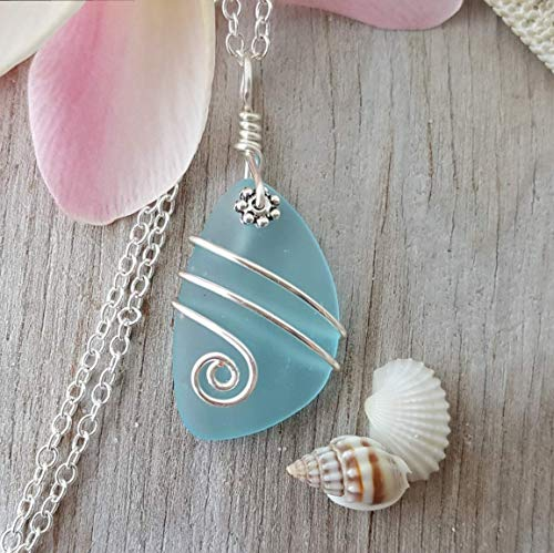 Handmade in Hawaii, wire wrapped turquoise bay blue sea glass necklace,