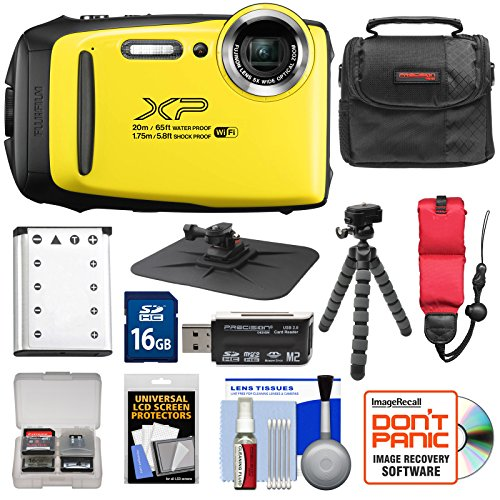 Fujifilm FinePix XP130 Shock & Waterproof Wi-Fi Digital Camera (Yellow) with 16GB Card + Battery + Case + Tripod + Strap + Kit