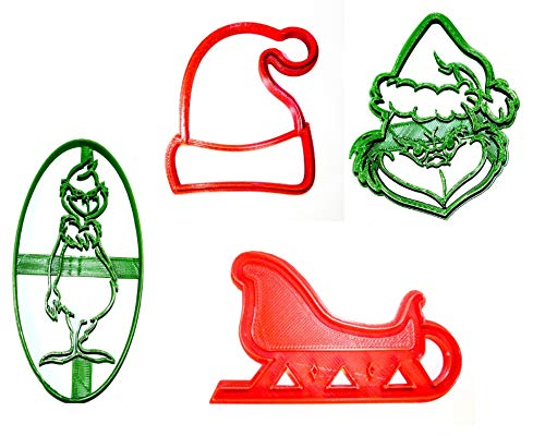 GRINCH CHRISTMAS CARTOON MOVIE BOOK DR SEUSS SLEIGH SANTA HAT SET OF 4 SPECIAL OCCASION COOKIE CUTTERS BAKING TOOL 3D PRINTED MADE IN USA PR1070