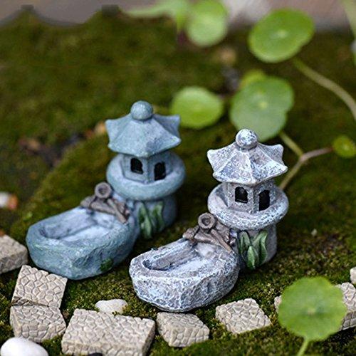 Oriental Lantern Fountain Garden - Mini Fairy Garden Ornament Retro Pond Tower Craft Dollhouse Plant Figurines Toys DIY Micro Landscape Ornament(sent in random)
