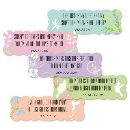 Inspirational Scripture Stickers- Set of 42 Scalloped Edge Seals, 3/4