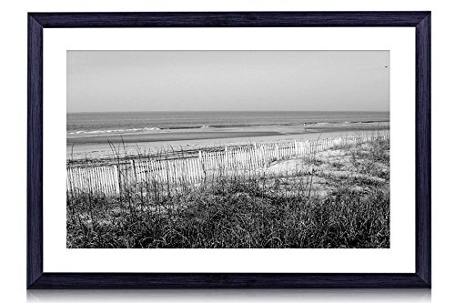 Holden Beach, North Carolina - Art Print Black Wood Framed Wall Art Picture For Home Decoration - Black and White 24