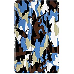 TNP Slim Case for All-New Amazon Fire 7 Tablet (7th Generation, 2017 Release), Ultra Lightweight Slim Shell Standing Cover with Auto Wake / Sleep (Camouflage Blue)