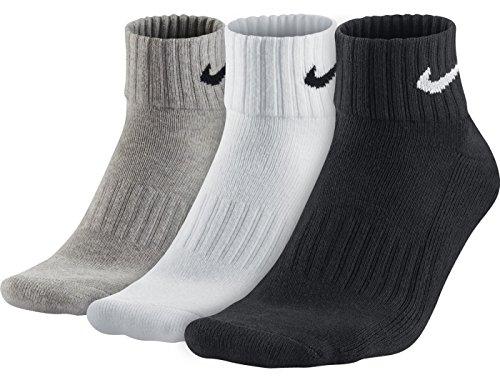 NIKE Men's 3 Pack Value Quarter Socks (White/Grey/Black, L) -