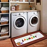 USTIDE Vintage Style Waterproof Floor Runners Non Skid Floor Mat,Cute Dress Print Laundry Room Cheap Washhouse Mat Bathroom Rugs Non-Slip Rubber Area Rug-Red 2x4