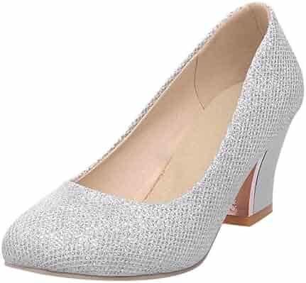 5843c92b034c3c Carol Shoes Women s Elegance Shiny Cuff Bridal Party Fashion Chunky Heel  Dress Pumps Shoes
