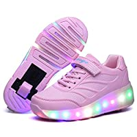 Nsasy Roller Shoes Girls Roller Skate Shoes Boys Kids LED Light up Rueda Shoes Roller Sneakers Shoes Ruedas para niños para niños