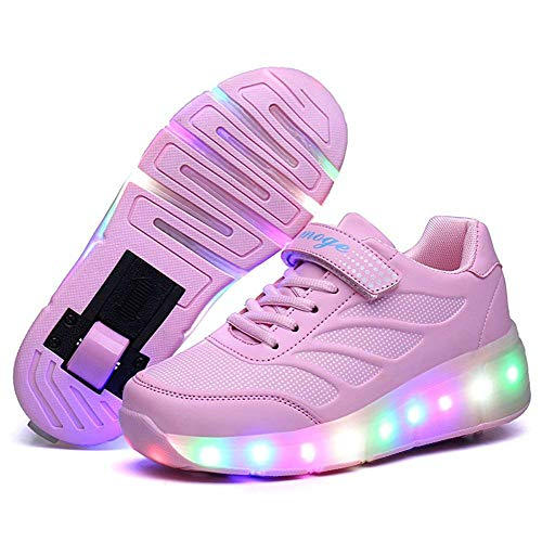 (Nsasy YCOMI Girl's Boy's LED Light Roller Shoes with Single Wheel Skate)
