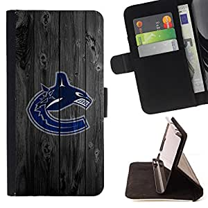 For Sony Xperia M5 Vancouver Canuck Ice Hockey Style PU Leather Case Wallet Flip Stand Flap Closure Cover
