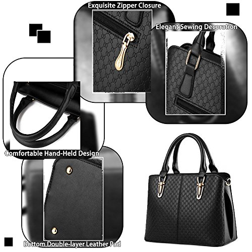 Tote Satchel And Women Black For Shoulder Handbags Purses Bags Tcife F6Ppwq7P