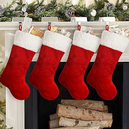 Ivenf Christmas Stockings, 4 Pack 19 Inch Classic Red & White Plush Mercerized Velvet Stockings, for Family Holiday Xmas Party Decorations
