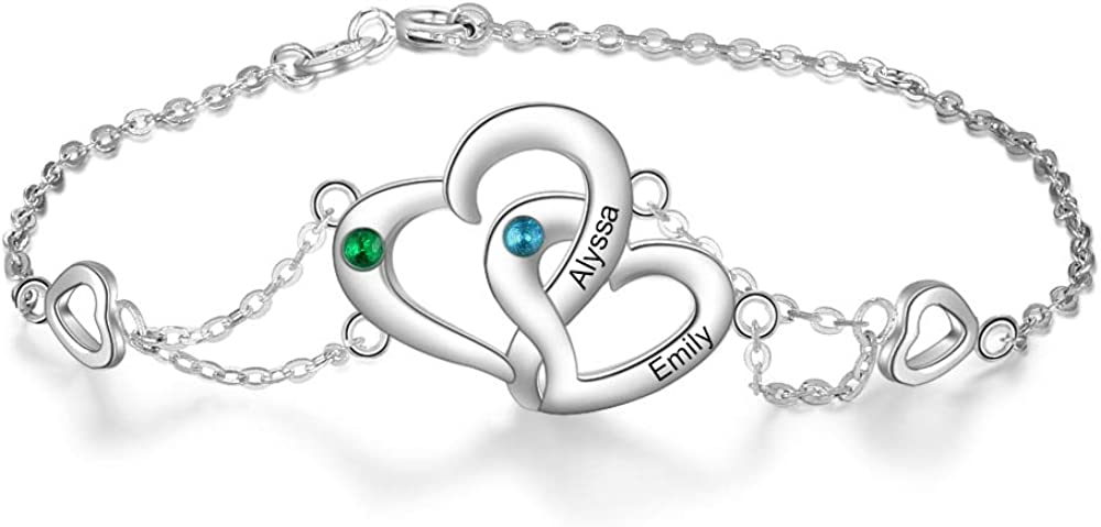 Lam Hub Fong Personalized Anklet Bracelets for Women Adjustable Silver Anklets for Women with Name Initial Simulated Birthstone Ankle Bracelets for Women Beach