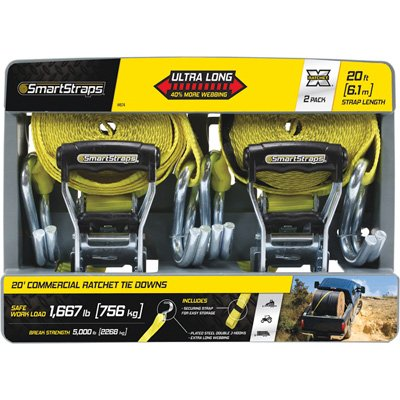 SmartStraps RatchetX Ratchet Tie-Down Strap - 2-Pk., 1.5 in. x 20ft., with J-Hook, 5000-Lb. Breaking Strength, Yellow, Model# 4574