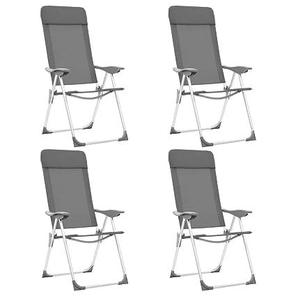 Festnight 4 Unidades Sillas de Camping Plegables Aluminio, Ajustable en 5 Posiciones, Reposacabezas Acolchado, Gris 57 x 73,5 x 111 cm