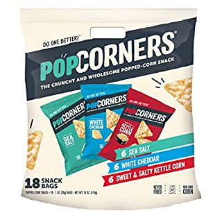 Popcorners Snacks Variety Pack | Gluten Free Chips Snack Packs | Kettle Corn, White Cheddar, Sea Salt | (18 Pack, 1 oz Snack Bags)