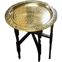 Moroccan Traditional Tea Table Engraved Brass Tray Top Folding Carved Wood 24