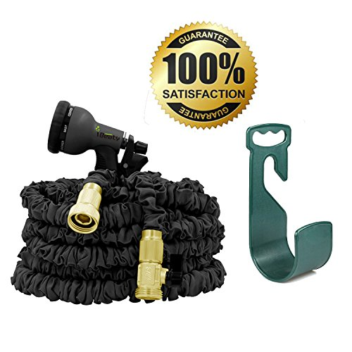 100FT Double Latex Core Fabric Flexible Expanding Water Hose Expandable Garden Hose Brass Fittings with Spray Nozzle (100ft Black)