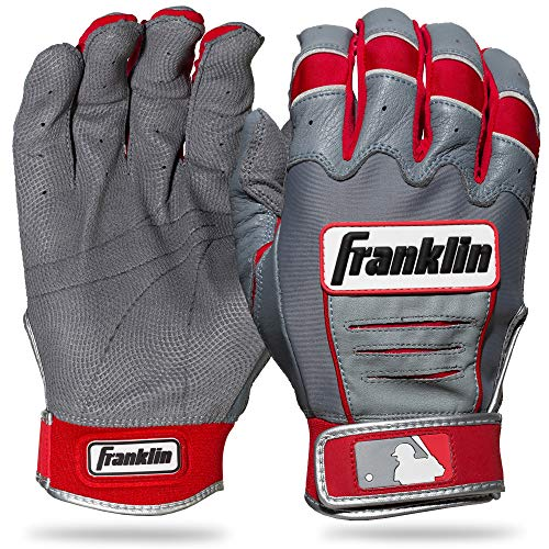 Franklin Sports MLB Adult CFX Pro Batting Glove, Pair, Large, Grey/Red