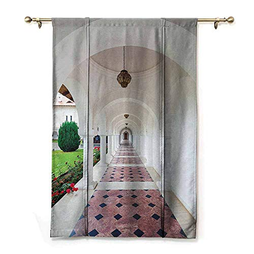 (DONEECKL Cartoon Curtain Apartment Decor Dome Arched Colonnade Hallway at Sambata De Sus Monastery in Transylvania Romania Thermal Insulated Block Out Sunlight Shade W35 xL64 White Green)