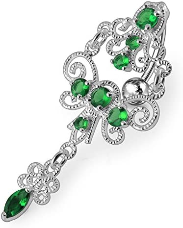 Jeweled Chandeliers Dangling 925 Sterling Silver Belly-Navel Ring Body Jewelry
