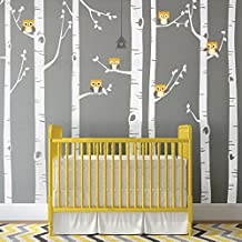 "Birch Tree with Owl Wall Decal - scheme A - 96"" (243 cm)Tall Trees - by Simple Shapes"