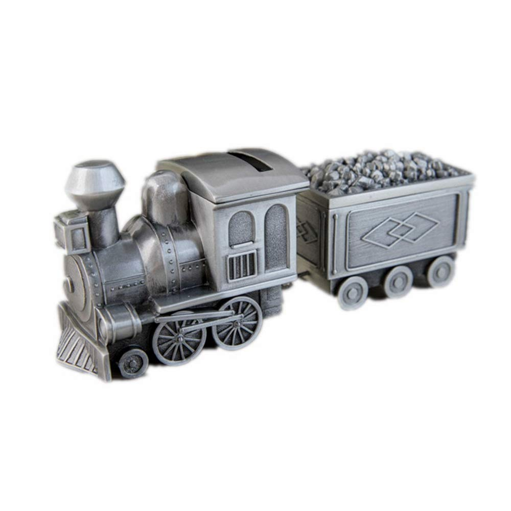 TAOYUANMINGLI Metal Vintage Train Piggy Bank for Boy Kids,Creative Mini Silver Dollars Coin Train Money Saving Bank,Cool Fun Toy,Pullstone by TAOYUANMINGLI