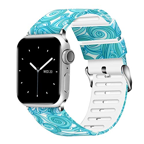 (Lwsengme Compatible with Apple Watch Band 38mm 40mm 42mm 44mm, Soft Flower Printed Replacement Sport Wristbands Compatible with Apple Watch Series 4,Series 3,Series 2,Series)