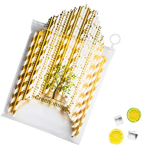 Halloween Gold Paper Straws Goold Stripe, Star, Wave, Plain color straw with Ruesable Zipper Bag - 100 pcs Biodegradable Environment Disposable Party Decoration Straw (Shining Mixed Gold -