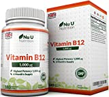 Vitamin B12 Methylcobalamin 1000mcg 180 Tablets (6 Month's Supply) Vitamin B12 1000mcg, Sublingual B12 by Nu U Nutrition