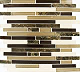 M S International Royal Oaks 12 In. X 8 mm Glass Stone Mesh-Mounted Mosaic Tile, (10 sq. ft., 10 pieces per case)