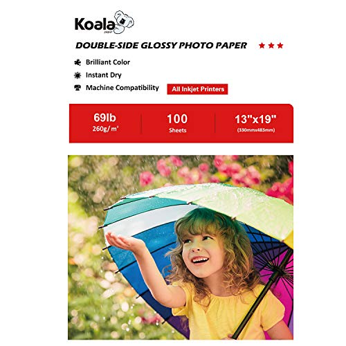(Koala Photo Paper 13x19 Inches Heavyweight Double Sided High Glossy 100 Sheets 260gsm only Compatible with Inkjet Printer)