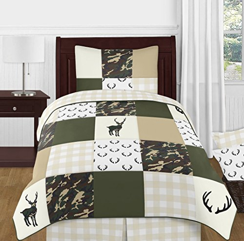 Sweet Jojo Designs Green and Beige Deer Buffalo Plaid Check Woodland Camo Boy Twin Kid Childrens Bedding Comforter Set - 4 Pieces - Rustic Camouflage