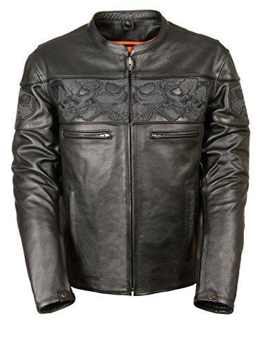 Milwaukee Leather Mens Leather Reflective Skull Crossover Scooter Jacket, Black Size 5XL (Mens Leather Skull Jacket)